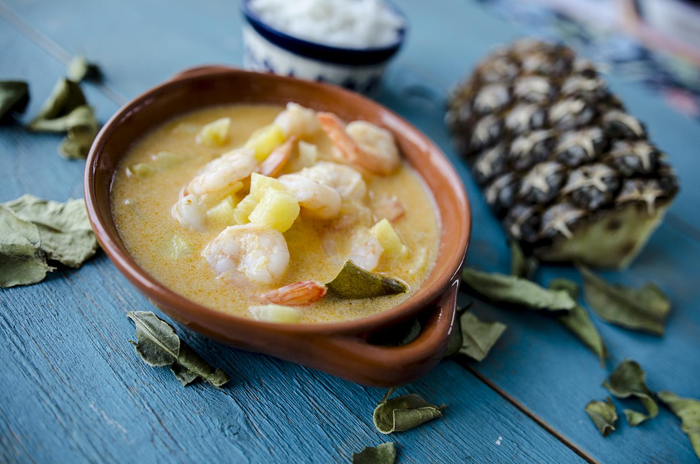 curry ananas krewetki