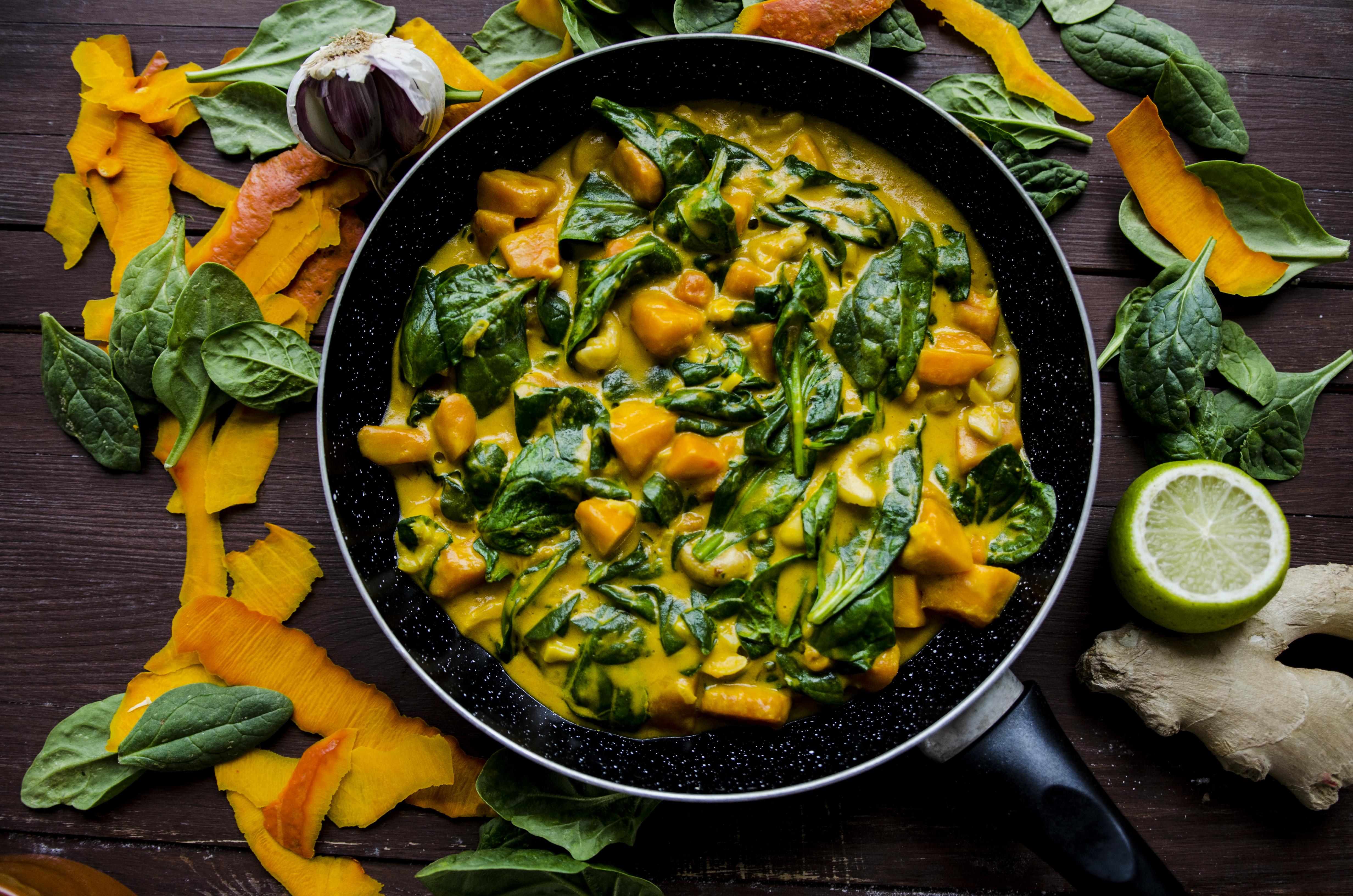 curry szpinak dynia nerkowce